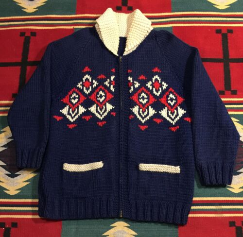 "Vintage Wool Knit Cowichan Shawl Collar ""Dude"" Chu"