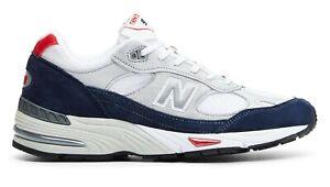 NEW-BALANCE-Made-in-UK-991-Scarpe-Uomo-Sneakers-WHITE-BLUE-GREY-M991GWR