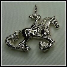 Horse & Rider Pendant Sterling Silver Moon Rider Dragons Fly Design