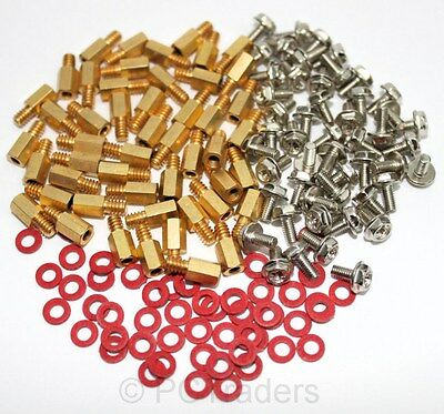 50x 6.5mm Brass Standoff 6-32 - M3 PC Case Motherboard Riser + Screws + Washers