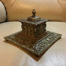 Antique Victorian Edwardian Art Noveau Brass Ornate Ink Stand Office Desk