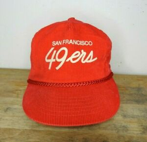 Vintage San Francisco 49ers Red Corduroy Strapback Hat NFL Script Spellout