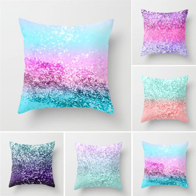 USA Cute Pillow Sequin Cover Glitter Sofa Waist Throw Cushion Case Home Decor