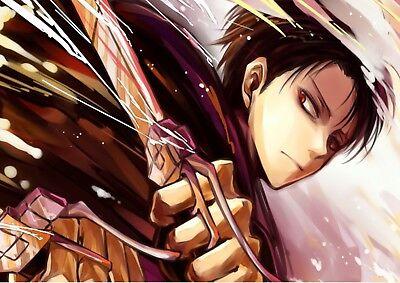Mettere In Guardia Sticker Poster Manga Shinjeki No Kyojin . L'attaque Des Titans Livai Format A4