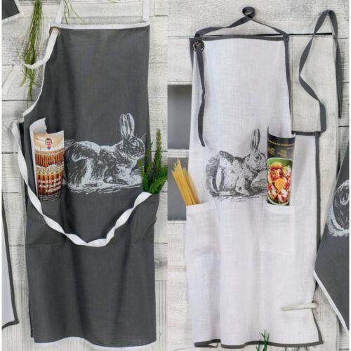 100/% Cotton Hoff Interieur 8804 Schürze Hase 2 Vordertaschen Khaki oder Weiß