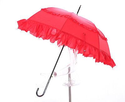 91cm Stock Regenschirm Pagode Rüschen rot Hochzeit Gothic Lolita Feier R-9