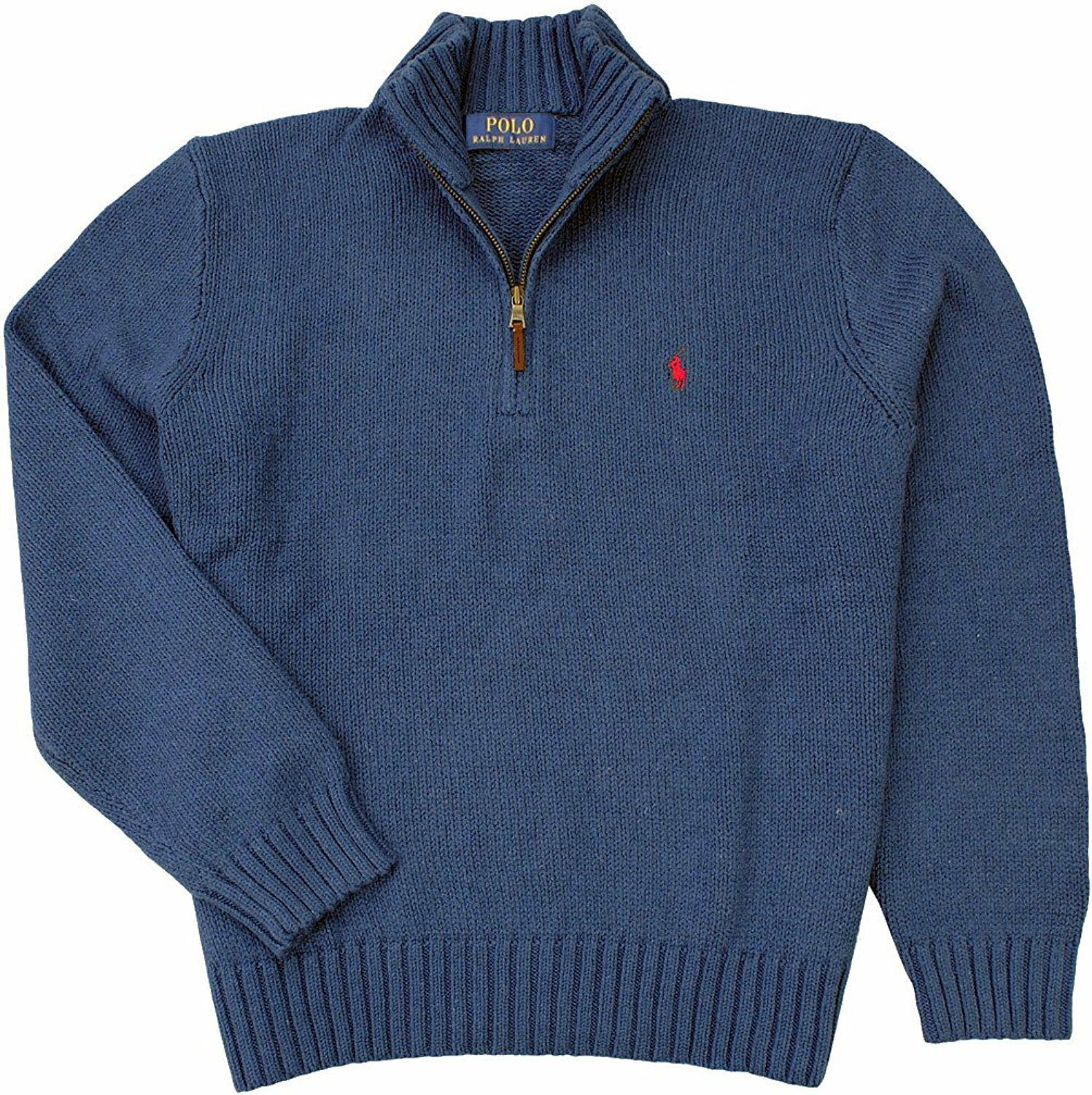 NWT  Polo Ralph Lauren Men's Half-Zip Cotton Sweater 100% AUTHENTIC