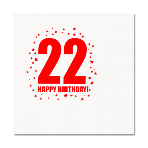 22nd BIRTHDAY LUNCHEON NAPKIN 16//pkg Large Napkin Birthday Party Supplies T270