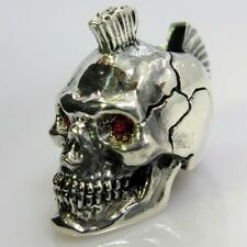 Mohawk w/Red Rhinestone Eyes Paracord Bead in .925 Sterling Silver by GD Skulls