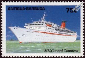 Site Officiel Mv Cunard Countess (ocean Comtesse) Navire De Croisière Stamp (1989 Antigua)-afficher Le Titre D'origine Avoir Une Longue Position Historique