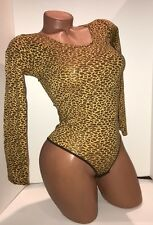 Beautiful bodysuit  S/M cotton stretch top long sleeve tong  leotard