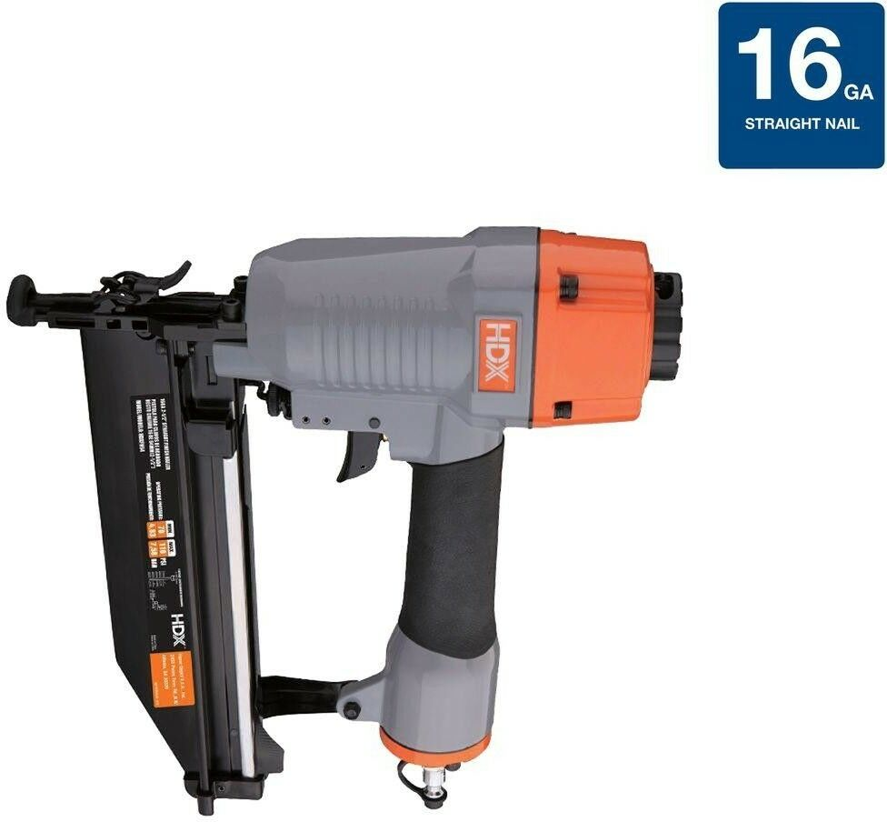 16-Gauge Pneumatic Straight Finish Air Nailer with Tool-Free Depth Adjustment