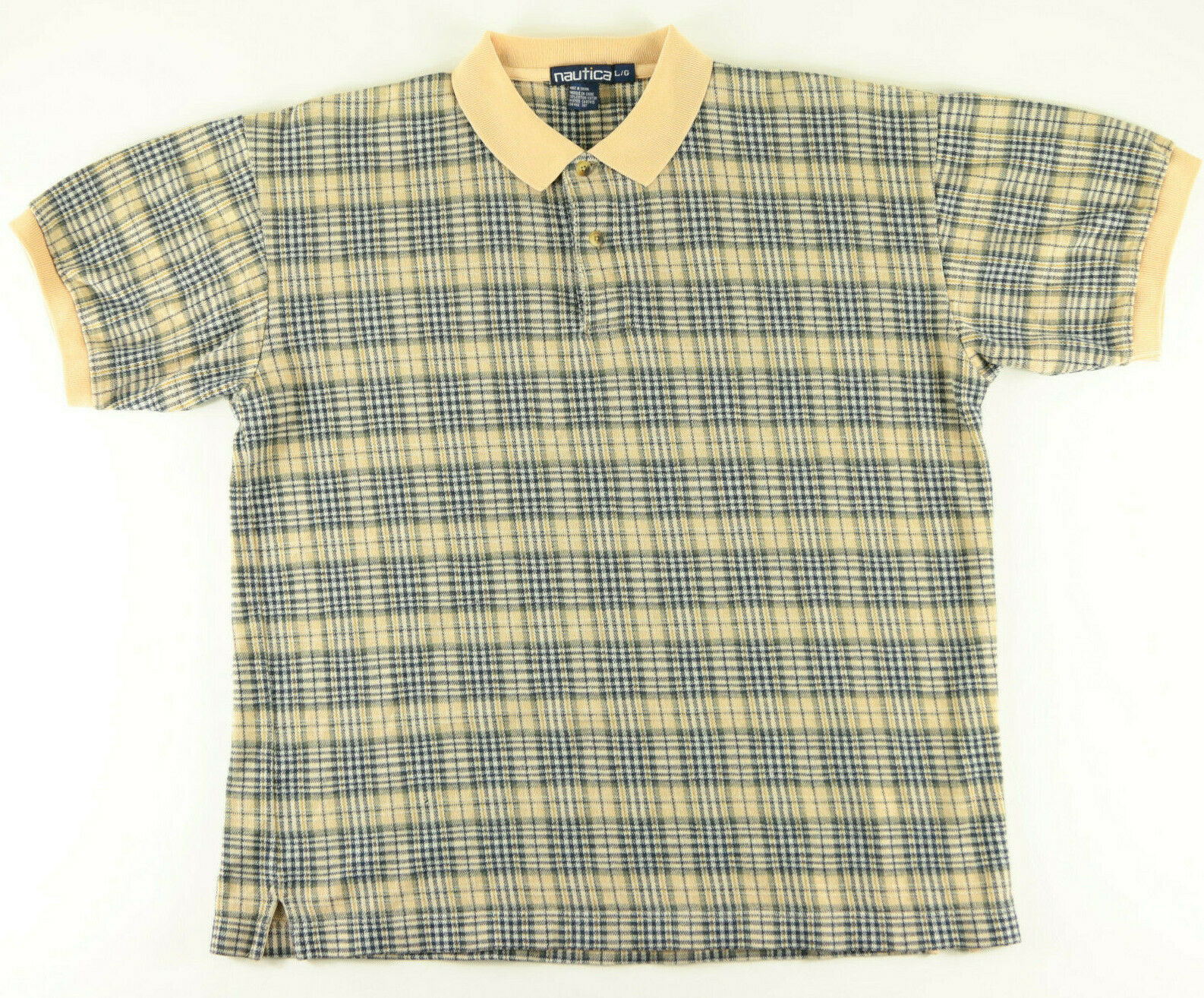 NAUTICA POLO SHIRT SIZE LARGE BEIGE GRAY NAVY BLU… - image 6