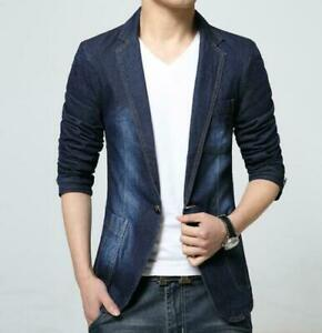 New-Men-Denim-Jeans-Suit-Blazer-Retro-Slim-Fit-Coat-Jacket-Outwear-size-2XS