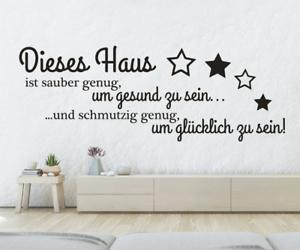 X4509-Wandtattoo-Spruch-Dieses-Haus-sauber-Glueck-Sticker-Wandaufkleber-Aufkleber