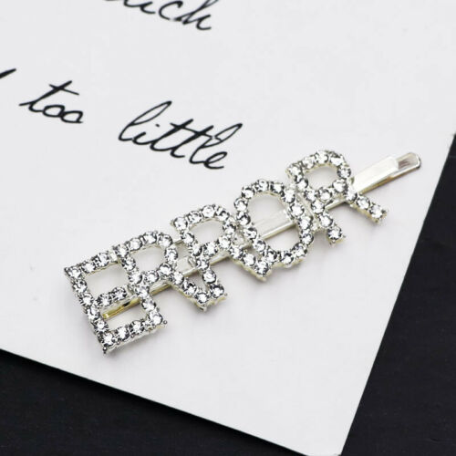 Women Crystal Word Letters Hair Clip Slide Barrette Bridal Hair Accessories