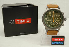 Timex Expedition Indiglo Analog Chronograph Watch Brown Leather Band TW4B04400