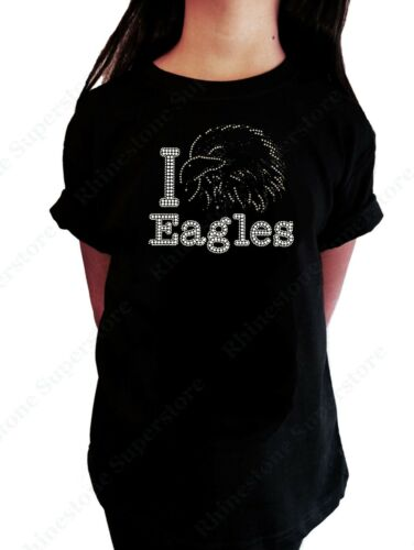 """Girls Rhinestone T-Shirt /"""" I Love Eagles /"""" in Size 3 to 14 Available"""