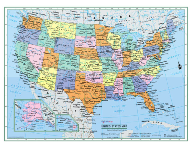 USA United States Wall Map Color Poster 22