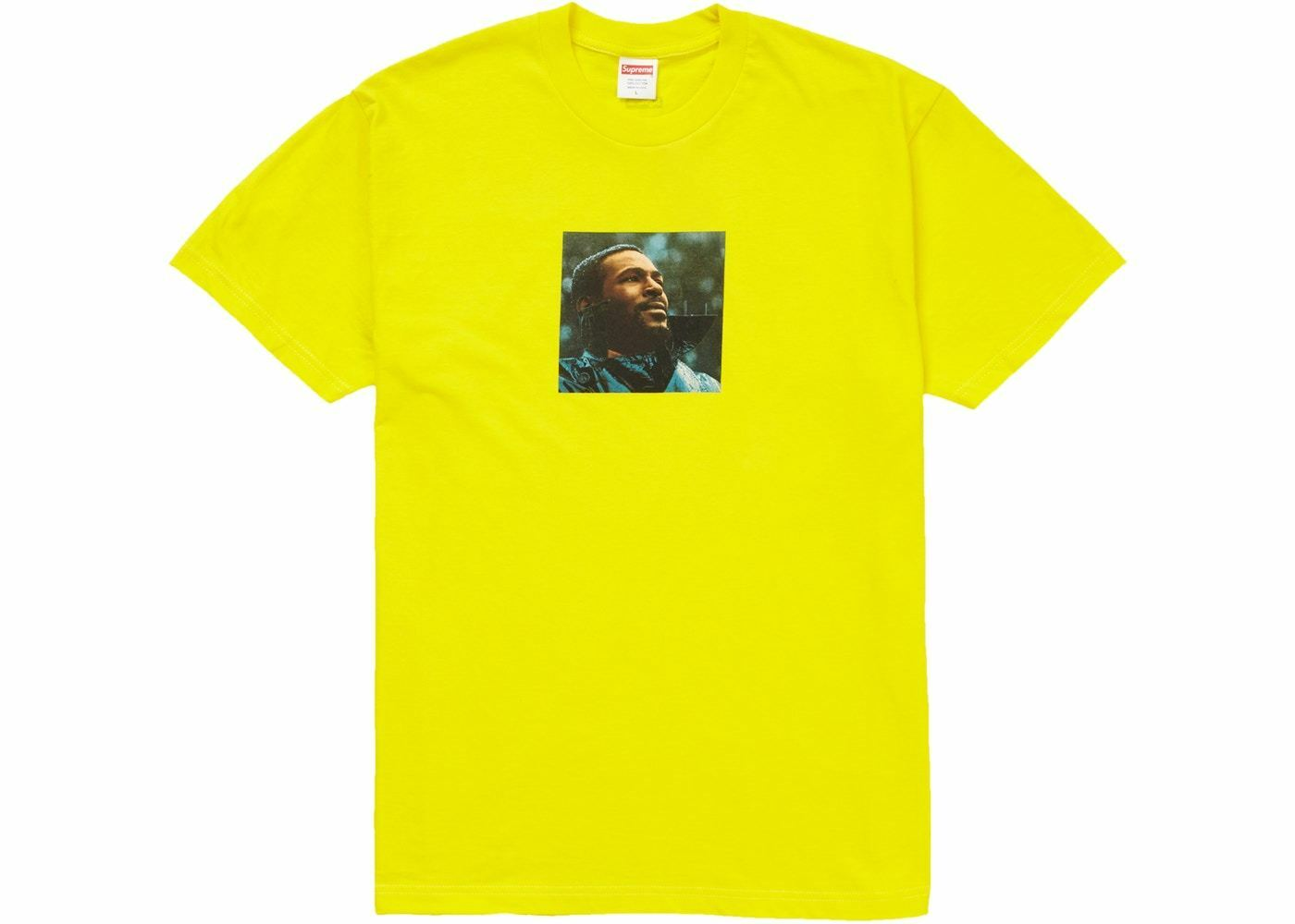 SUPREME MARVIN GAYE T-SHIRT YELLOW SIZE LARGE TEE TSHIRT IN HAND WHAT'S GOING ON