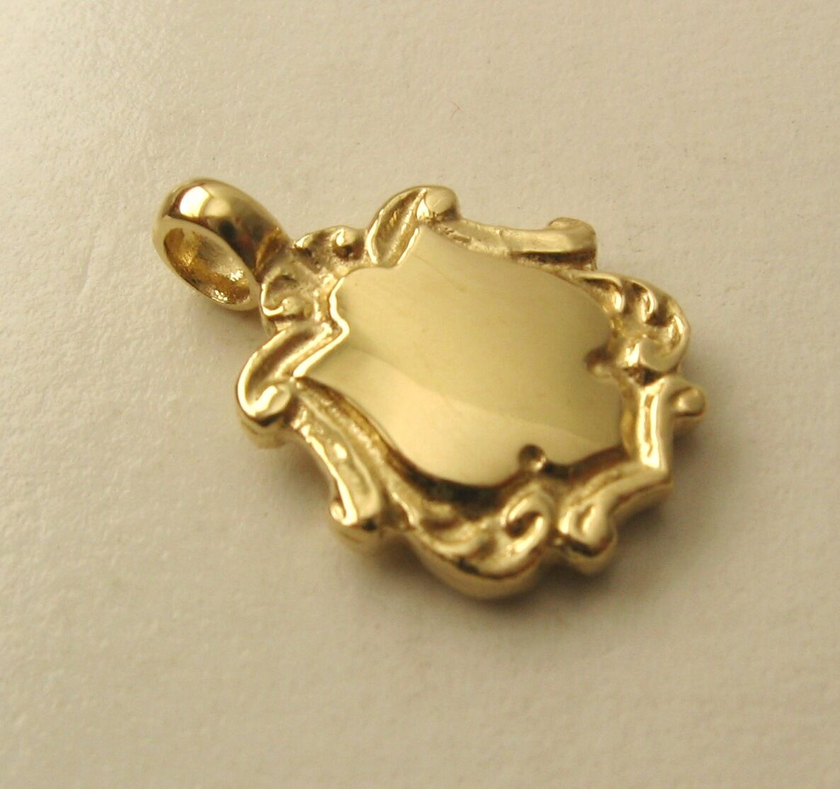 GENUINE 9K 9ct SOLID gold 3D DOUBLE SIDED SMALL SHIELD PENDANT