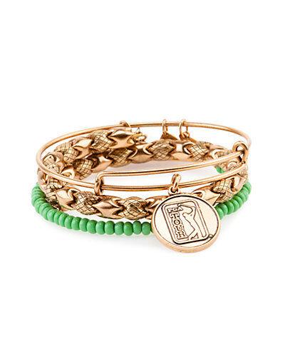 "Alex and Ani Set of 3 /""PGA Tour/"" Expandable medina  Bangles bracelet a15rll41rg"