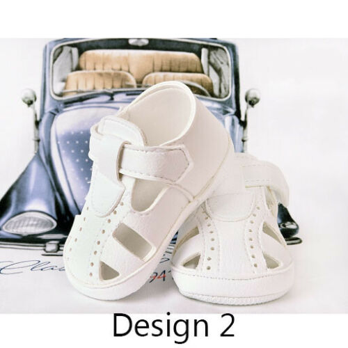 BABY BOYS WHITE FAUX LEATHER T BAR PRAM PRINCE FORMAL SHOES CHRISTENING BAPTISM