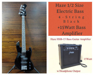 Haze 1/2 Size 4-String Electric Bass Guitar,S-S+15W Amplifier+Free Bag SBG-387BK