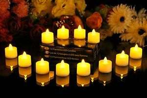 12-Battery-Candles-Electric-Tealights-Flameless-Flickering-Amber-LED-by-PK-Green