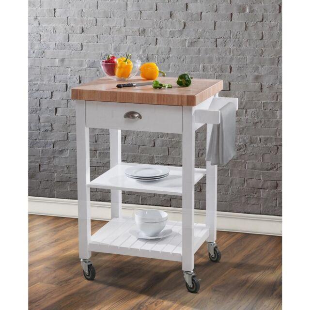 Bedford White Kitchen Cart w/ Butcher Block Wood Top Towel Bar 2 Shelves  Storage