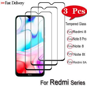 3x para Xiaomi Redmi Note 8 Pro 8T Completo Cubierta Protector de Pantalla de Vidrio Templado CA