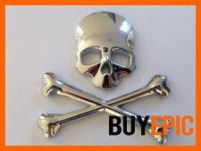 Metall Emblem SKULL, Totenkopf, Piraten CHROM, Turbo, Tuning, Universal