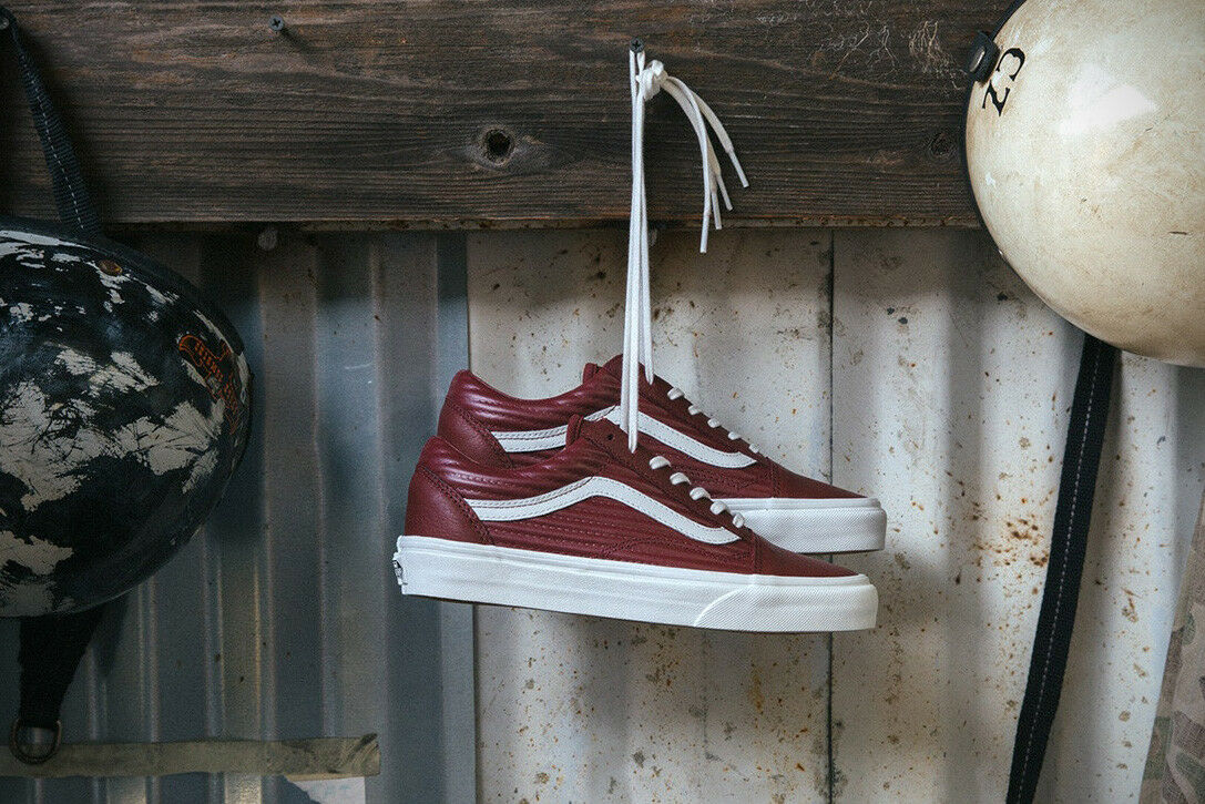 Vans OLD SKOOL Moto Leather Madder Brown White Women's shoes 7