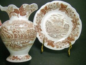 Old-Brown-Transferware-Small-Bowl-and-Pitcher-Vase-English-Castle