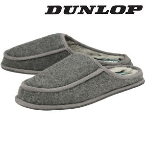 Dunlop-Mens-Slippers-Slip-On-Mules-Faux-Fur-Lined-Warm-Fleece-Grey-Sizes-7-12