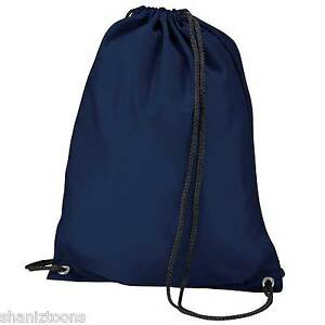 3a0d59aabd39 x10 Navy Blue Drawstring Gym Sports School PE Bag Bulk Buy Job Lot ...