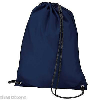 x10 Navy Blue Drawstring Gym Sports School PE Bag Bulk Buy Job Lot ...