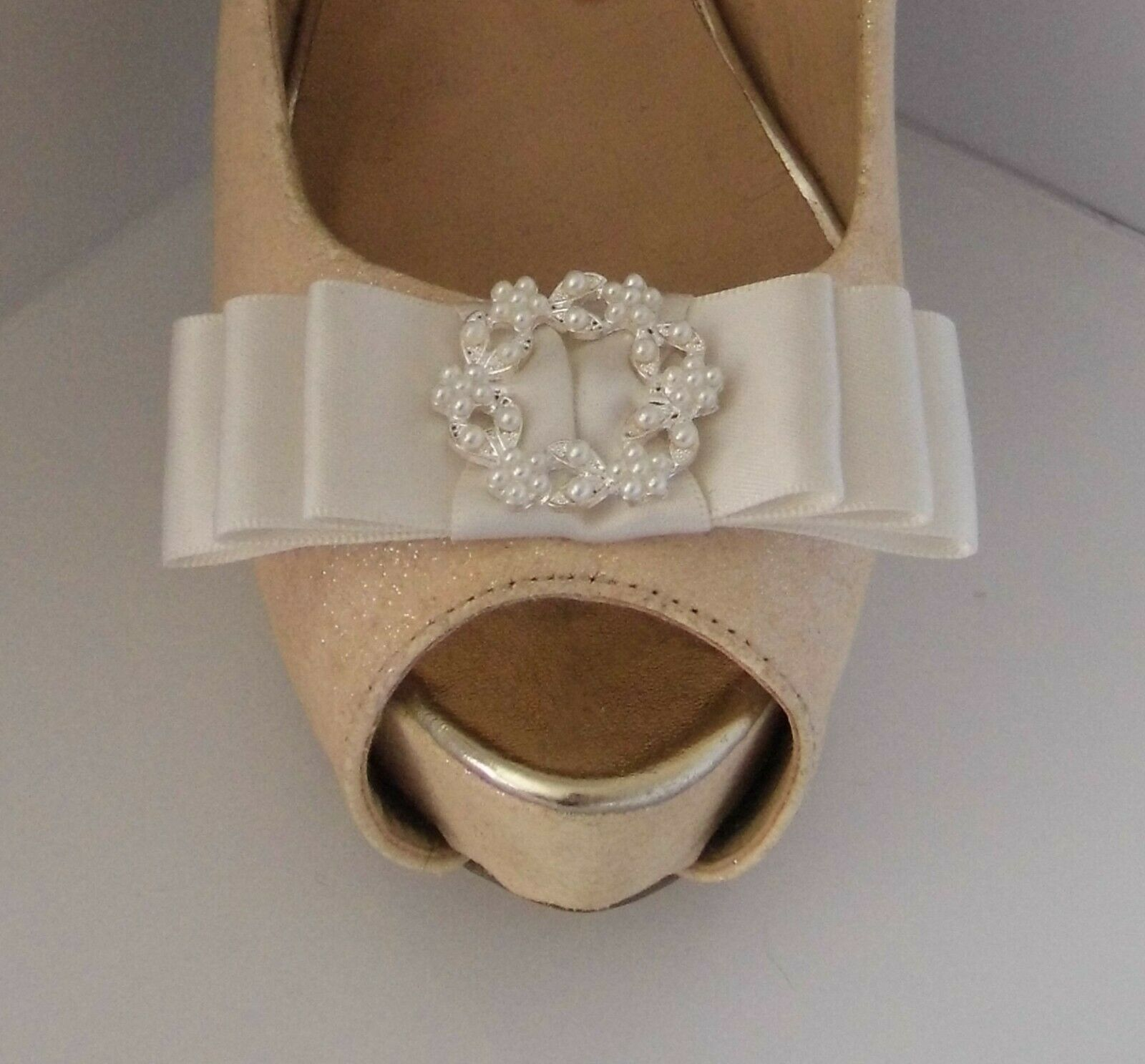 2 Ivory Satin Bow Clips for Shoes with Fine Pearl Buckle Centre