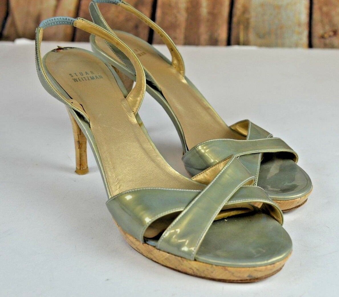 Stuart Weitzman Women's Open Toe Sandals Size 10 Lacquered Spain Ankle Strap