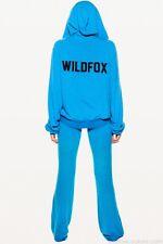 Wildfox Couture Club de Tenis con logotipo en azul con capucha sudadera con cremallera Top M 12 8 40!