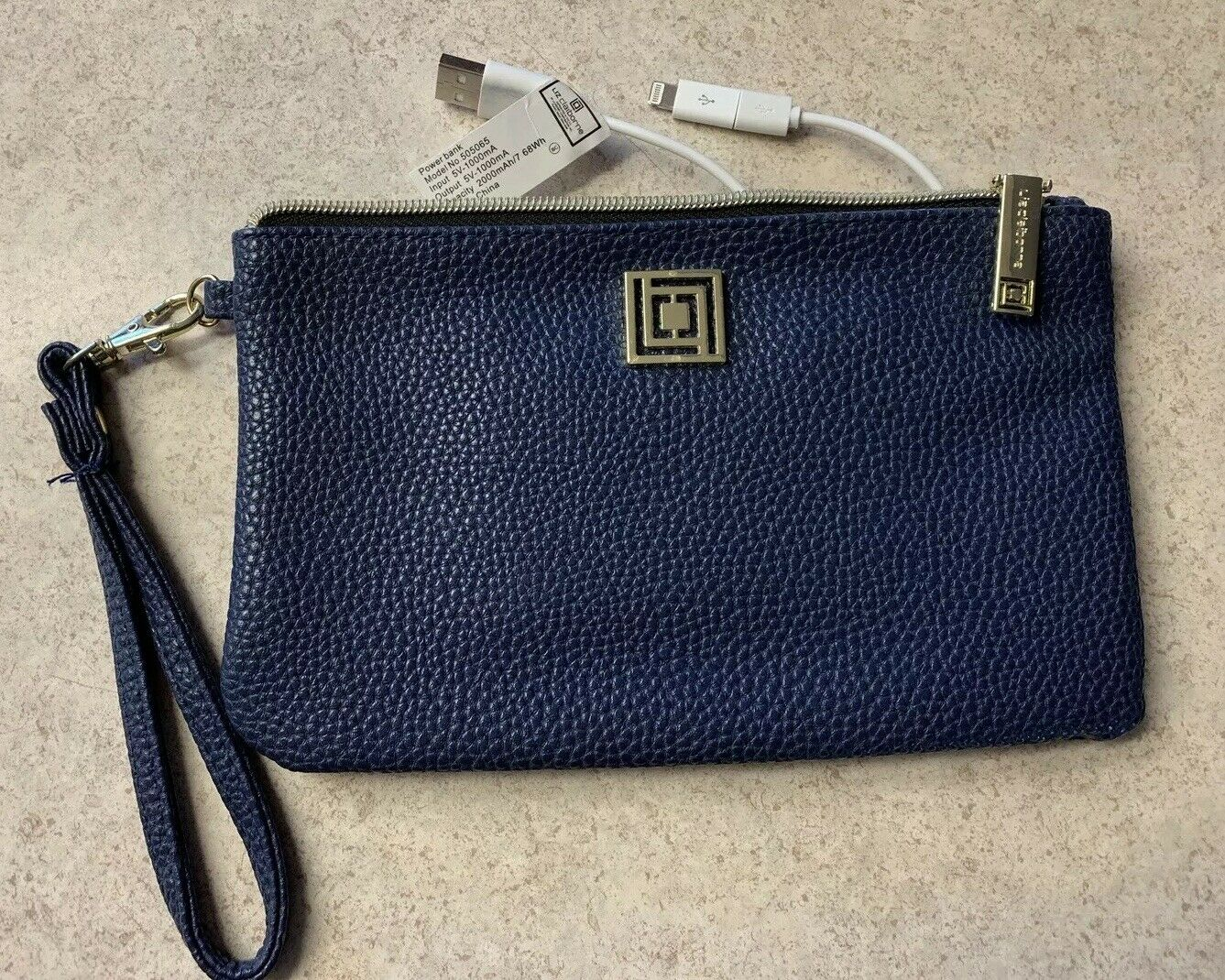 Phone Charging Wallet Liz Claiborne, iphone android- NAVY BLUE, 8.5x5