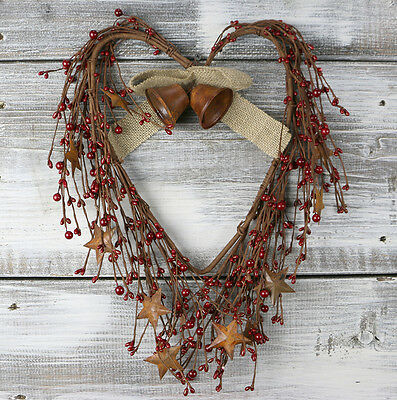 """COUNTRY PRIMITIVE RUSTIC 16/""""FLOWER SHAPED PIP BERRY WREATH **SHIPS FREE**"""