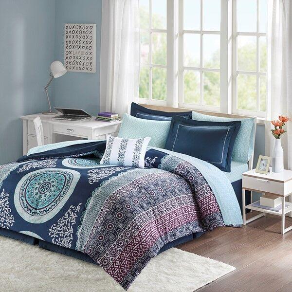 Navy & Purple Boho Bohemian Girls Full Comforter & Sheet Set (9 Pc Bed In A Bag)