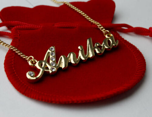 """High Quality 18ct Gold Plated Anniversary Gift Name Necklace /""""ANIKA/"""""""