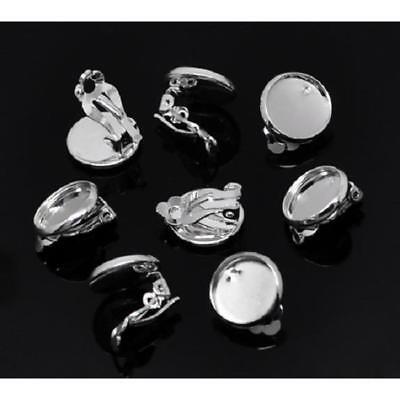 Earring cabochon stud blank settings 12 mm bezel silver plated butterfly backs