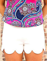 White Scalloped Shorts By Monteau Fits M-l Perfect For Summer