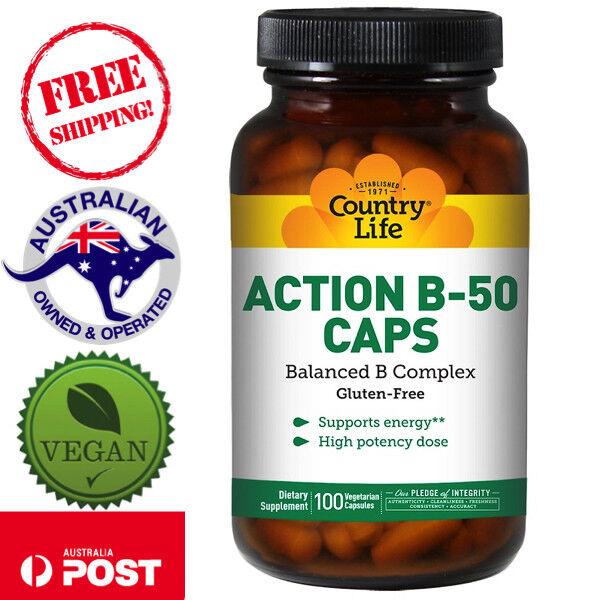 Country Life, Action B-50 Caps, 100 Vegan Capsules - Balanced B Complex