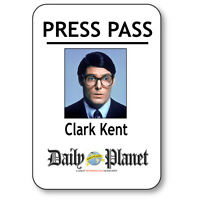 Clark Kent Name Badge Halloween Costume Prop For Superman Press Pass Pin Back