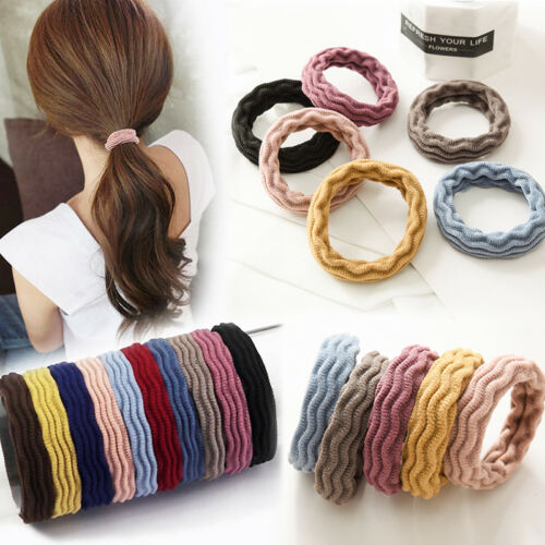Candy color 10x Girls Elastic Rubber Wavy Hair Ties Band Rope Ponytail Holder