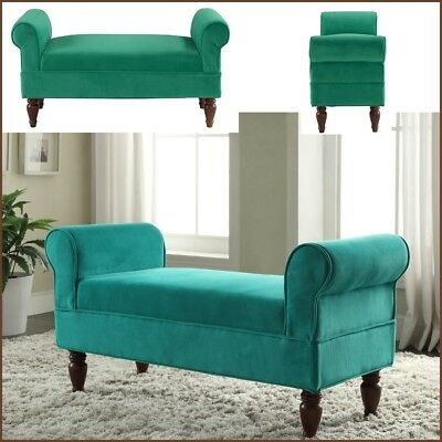 Emerald Green Rolled Arm Bench Upholstered Vintage